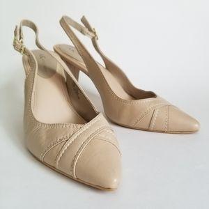Anne Klein Beige Leather Slingback Heels, Size 9.5